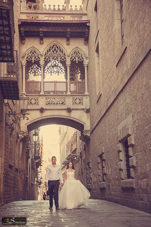 Gothic quarter wedding photography Barcelona